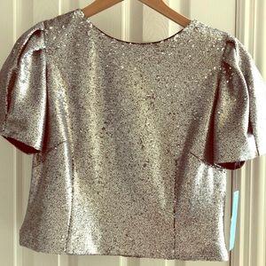 Antonio Melani silver sequin blouse